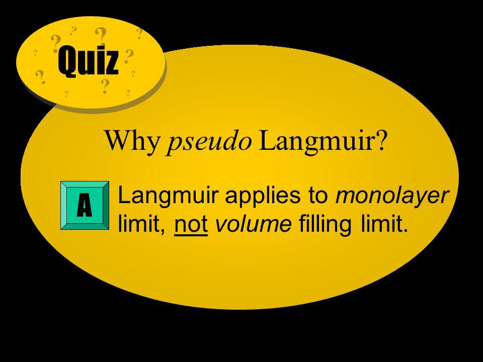 Quiz Why pseudo Langmuir A