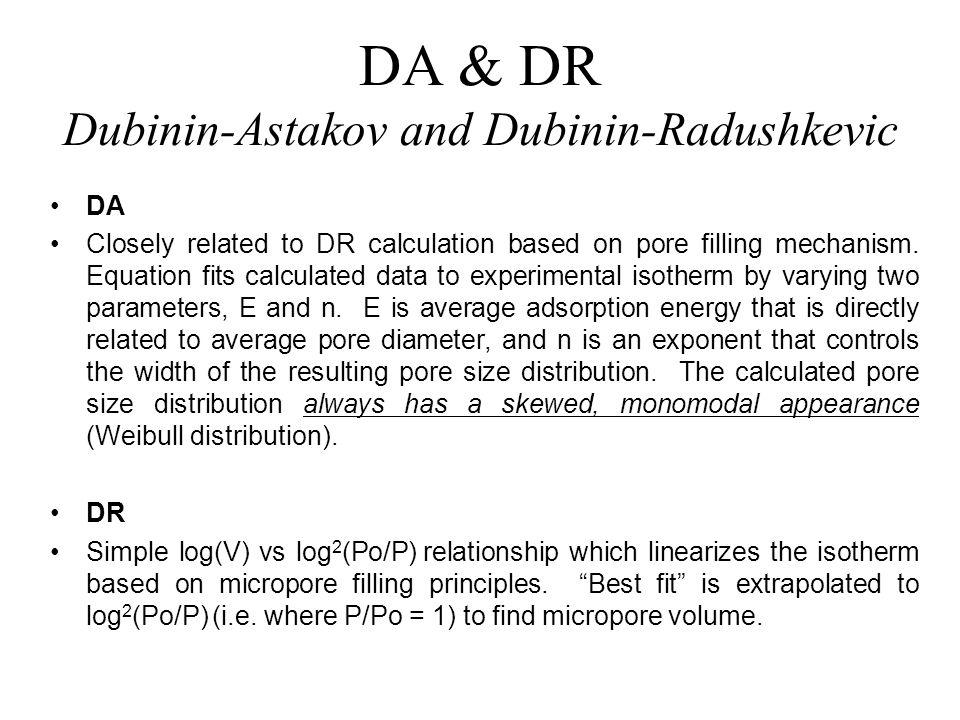 DA & DR Dubinin-Astakov and Dubinin-Radushkevic
