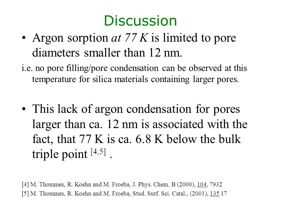 Discussion Argon sorption at 77 K is limited to pore diameters smaller than 12 nm.