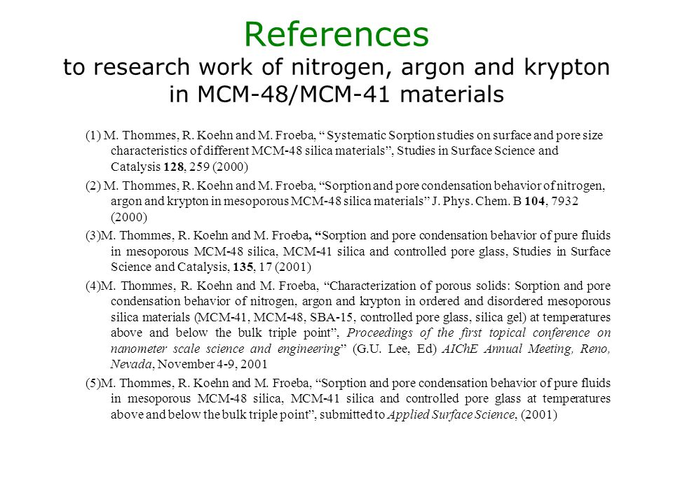 References to research work of nitrogen, argon and krypton in MCM-48/MCM-41 materials