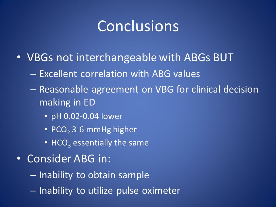 Conclusions VBGs not interchangeable with ABGs BUT Consider ABG in:
