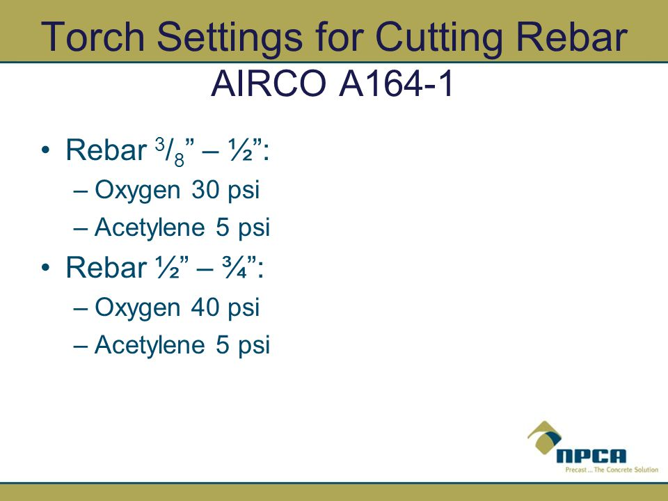 Torch Settings for Cutting Rebar AIRCO A164-1
