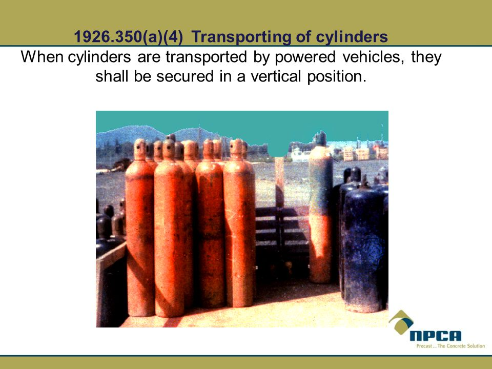 1926.350(a)(4) Transporting of cylinders