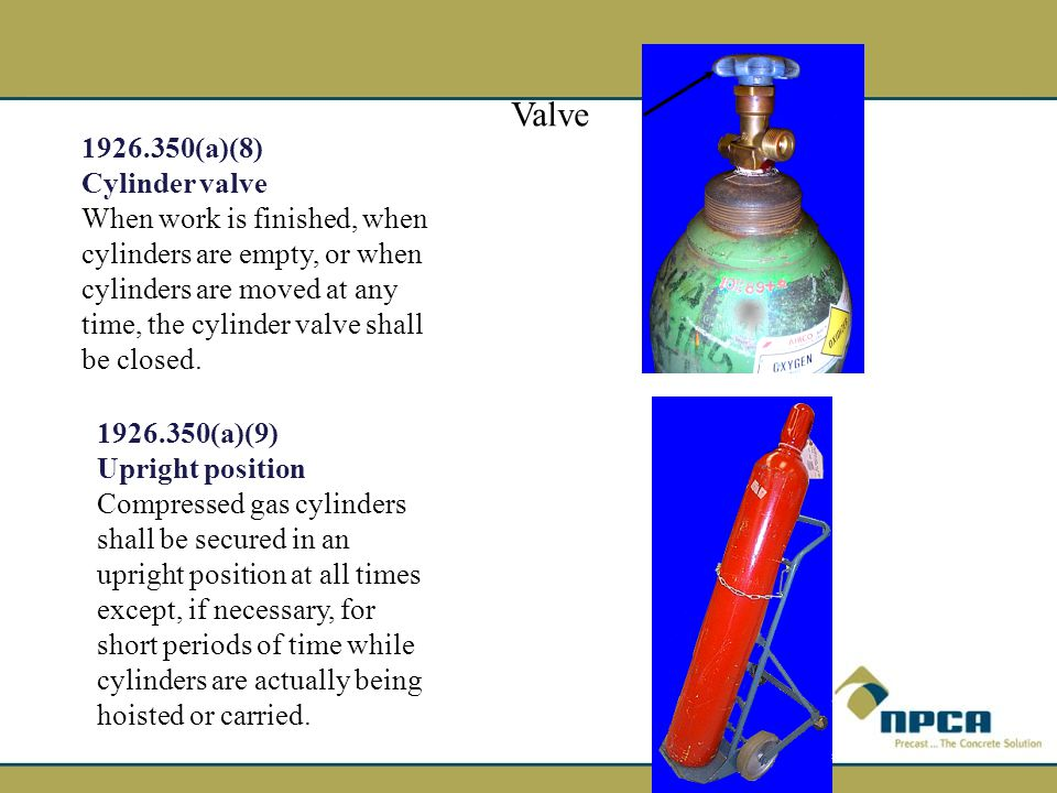 Valve 1926.350(a)(8) Cylinder valve