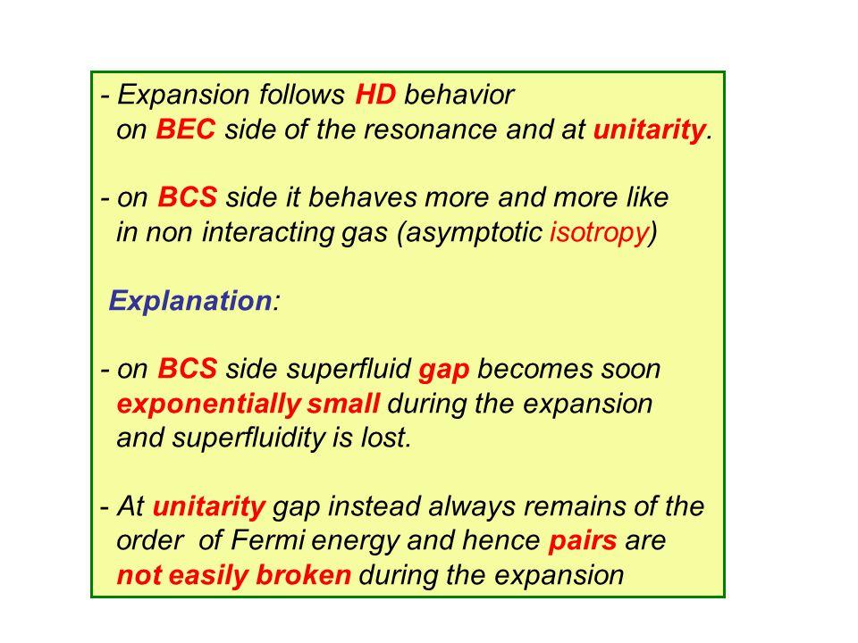 - Expansion follows HD behavior
