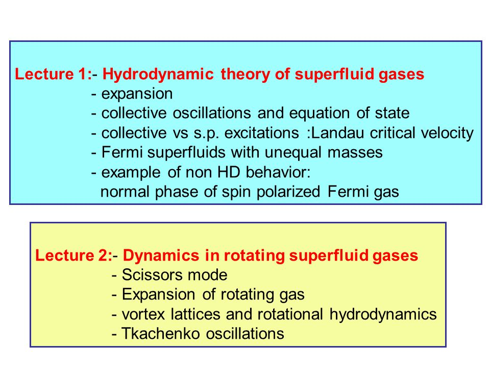 Lecture 1:- Hydrodynamic theory of superfluid gases