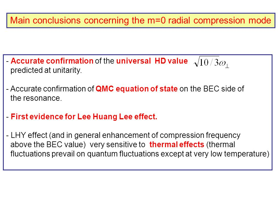 Main conclusions concerning the m=0 radial compression mode