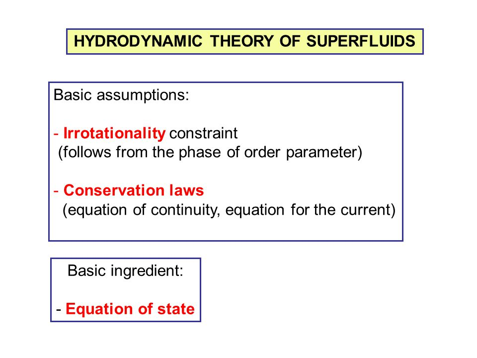 HYDRODYNAMIC THEORY OF SUPERFLUIDS