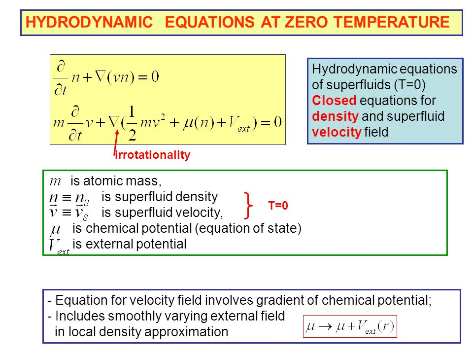 HYDRODYNAMIC EQUATIONS AT ZERO TEMPERATURE