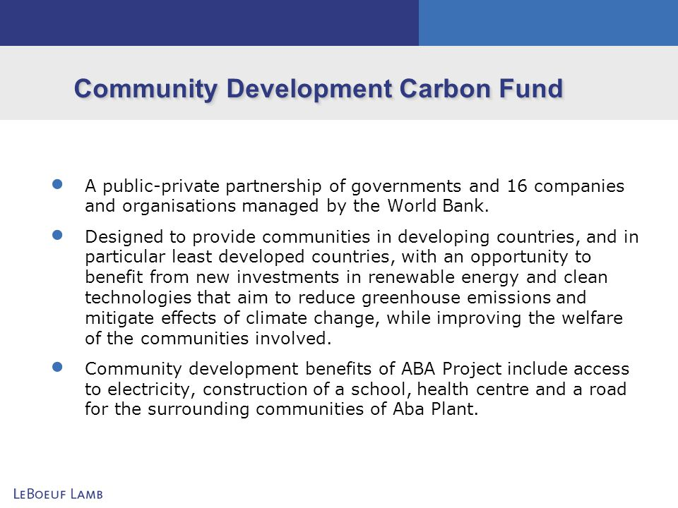 Community Development Carbon Fund