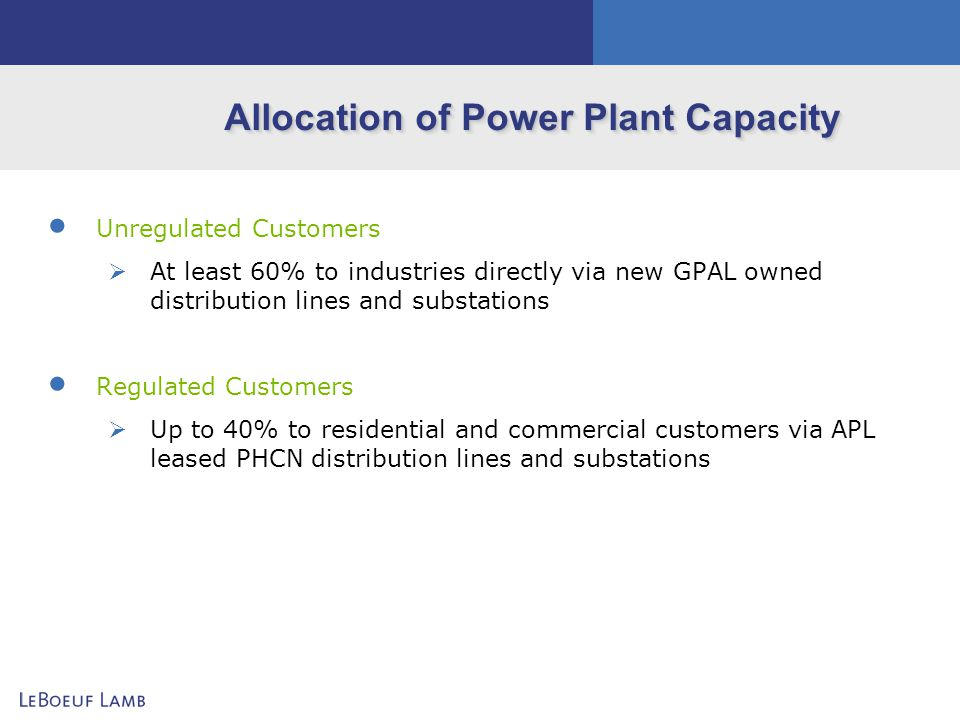Allocation of Power Plant Capacity