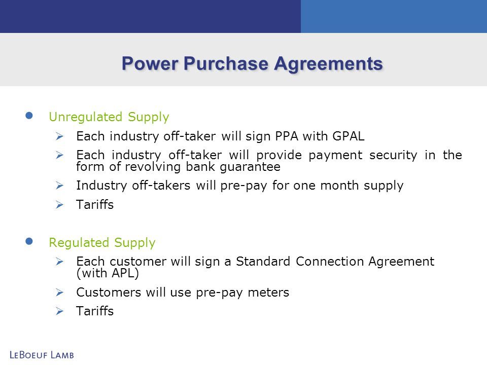 Power Purchase Agreements