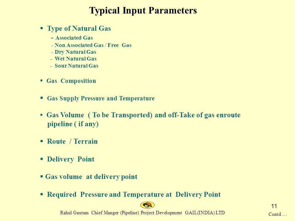 Typical Input Parameters