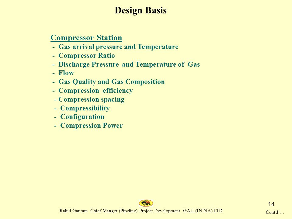 Design Basis Compressor Station - Gas arrival pressure and Temperature