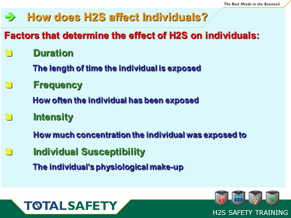 How does H2S affect Individuals