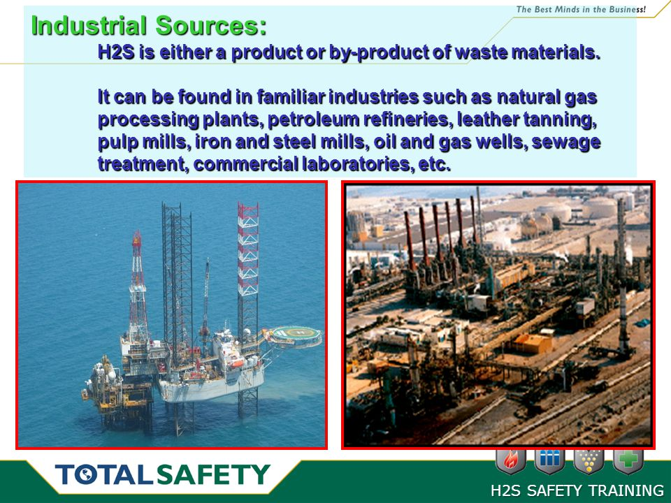 Industrial Sources: H2S is either a product or by-product of waste materials.