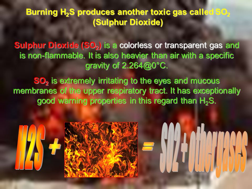 Burning H2S produces another toxic gas called SO2 (Sulphur Dioxide)