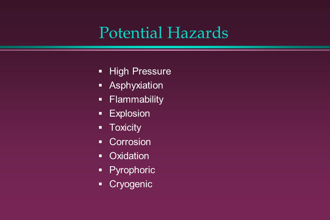 Potential Hazards High Pressure Asphyxiation Flammability Explosion
