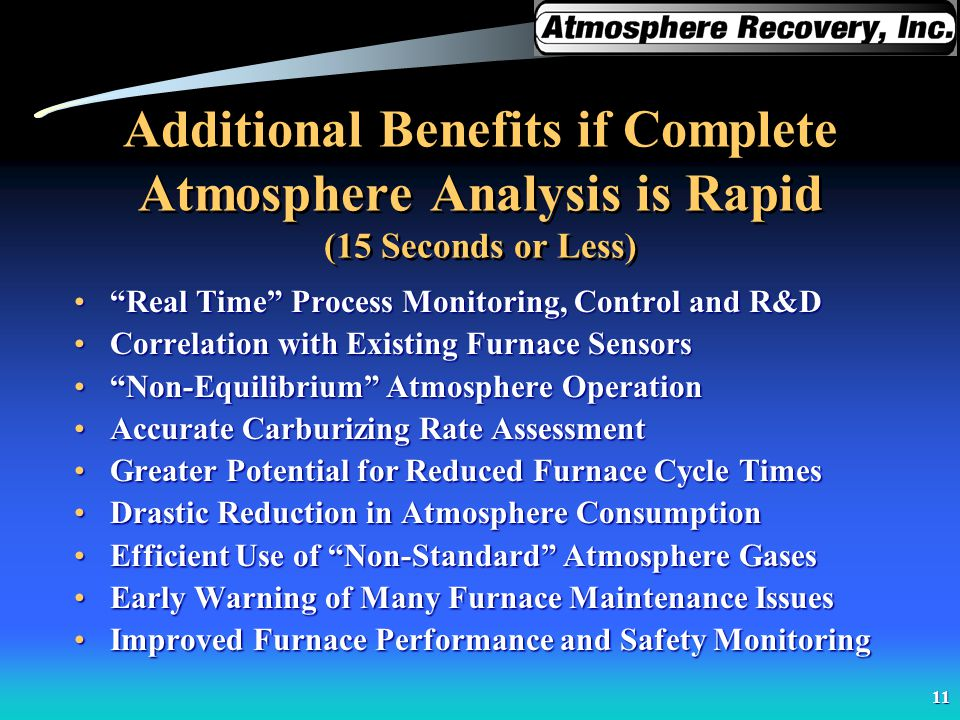 Additional Benefits if Complete Atmosphere Analysis is Rapid (15 Seconds or Less)