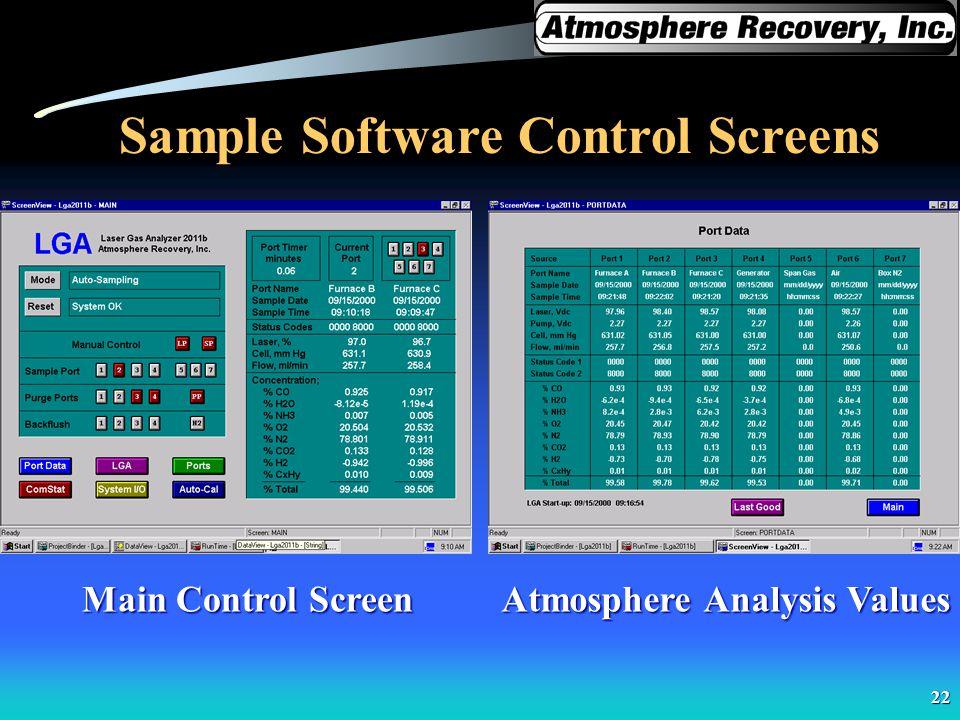 Sample Software Control Screens