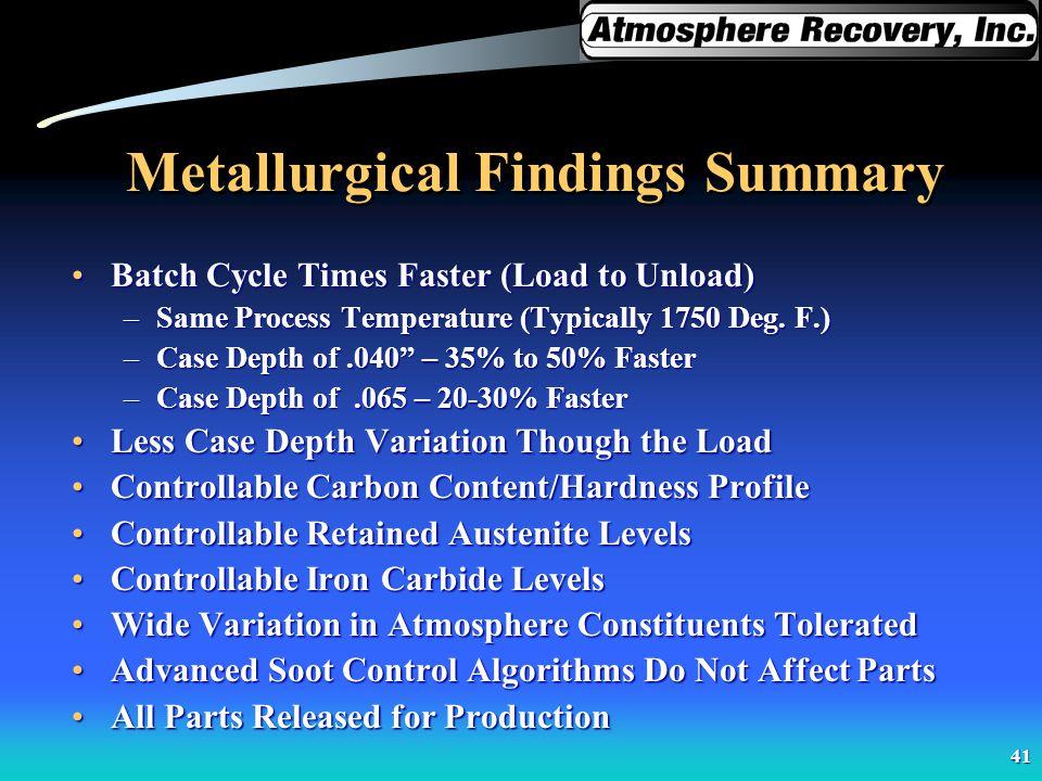 Metallurgical Findings Summary