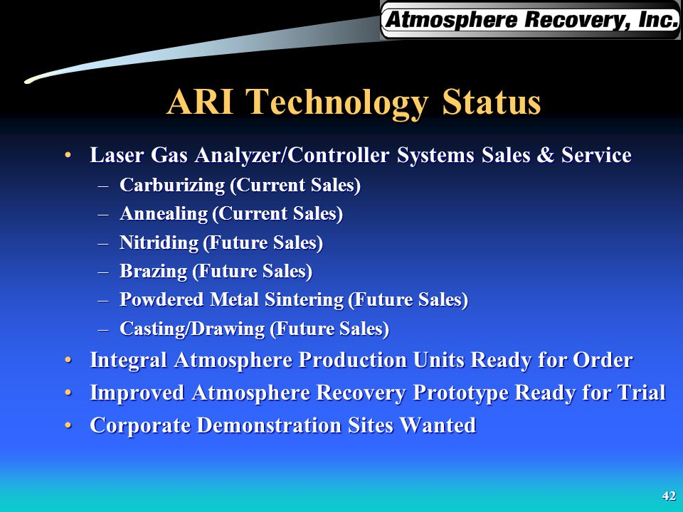 ARI Technology Status Laser Gas Analyzer/Controller Systems Sales & Service. Carburizing (Current Sales)