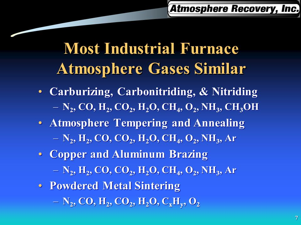 Most Industrial Furnace Atmosphere Gases Similar