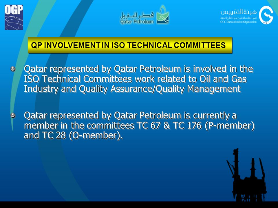 QP INVOLVEMENT IN ISO TECHNICAL COMMITTEES