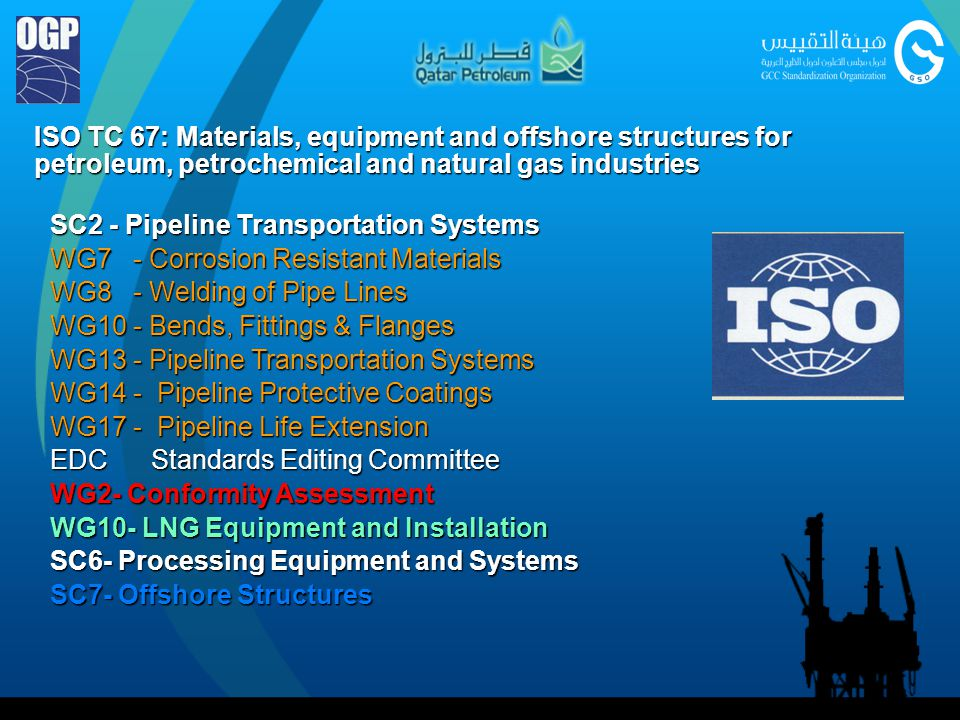ISO TC 67: Materials, equipment and offshore structures for petroleum, petrochemical and natural gas industries