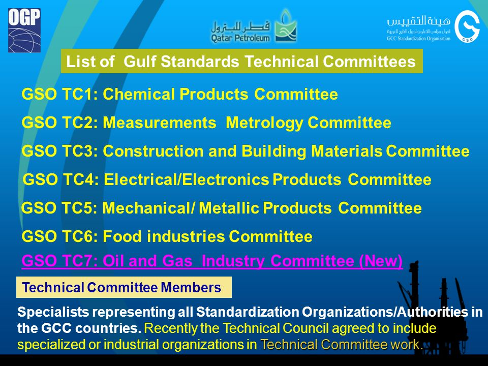 List of Gulf Standards Technical Committees