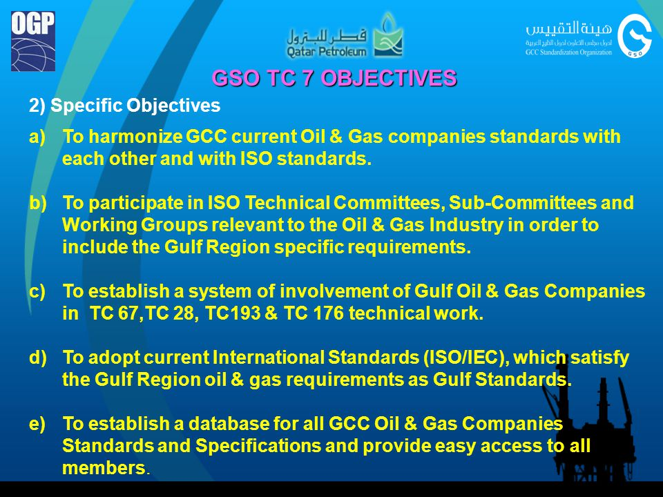 GSO TC 7 OBJECTIVES 2) Specific Objectives