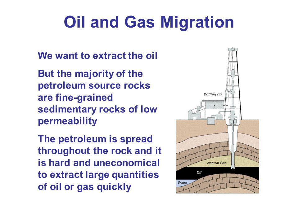 Oil and Gas Migration We want to extract the oil