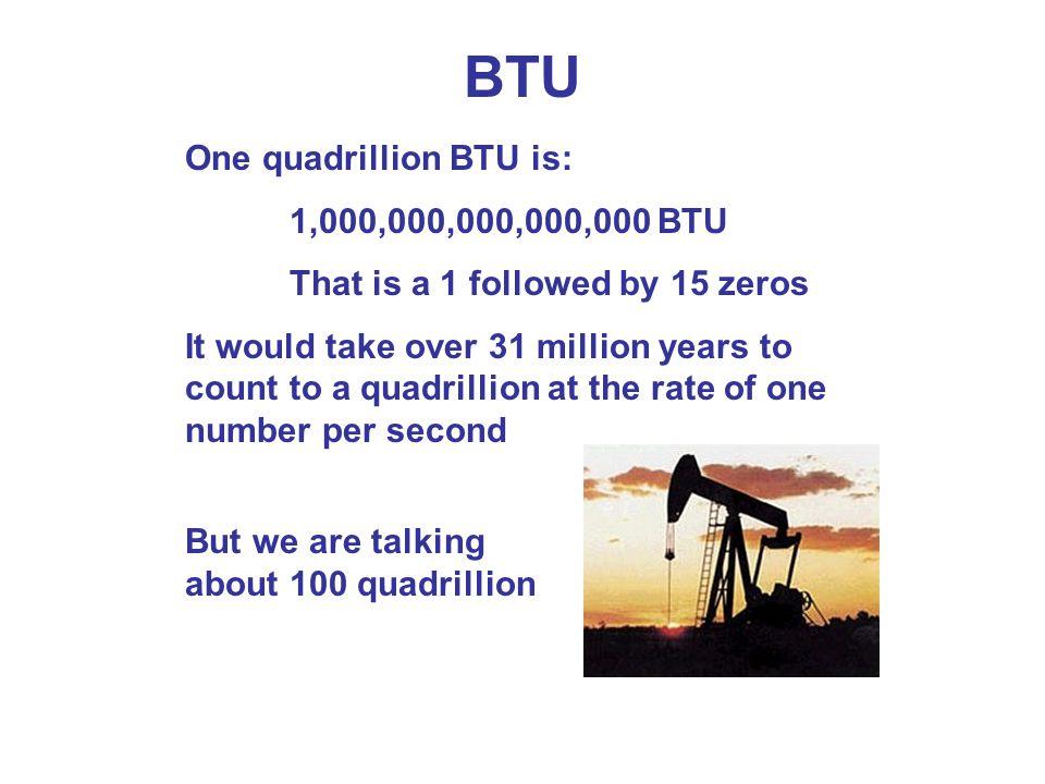 BTU One quadrillion BTU is: 1,000,000,000,000,000 BTU