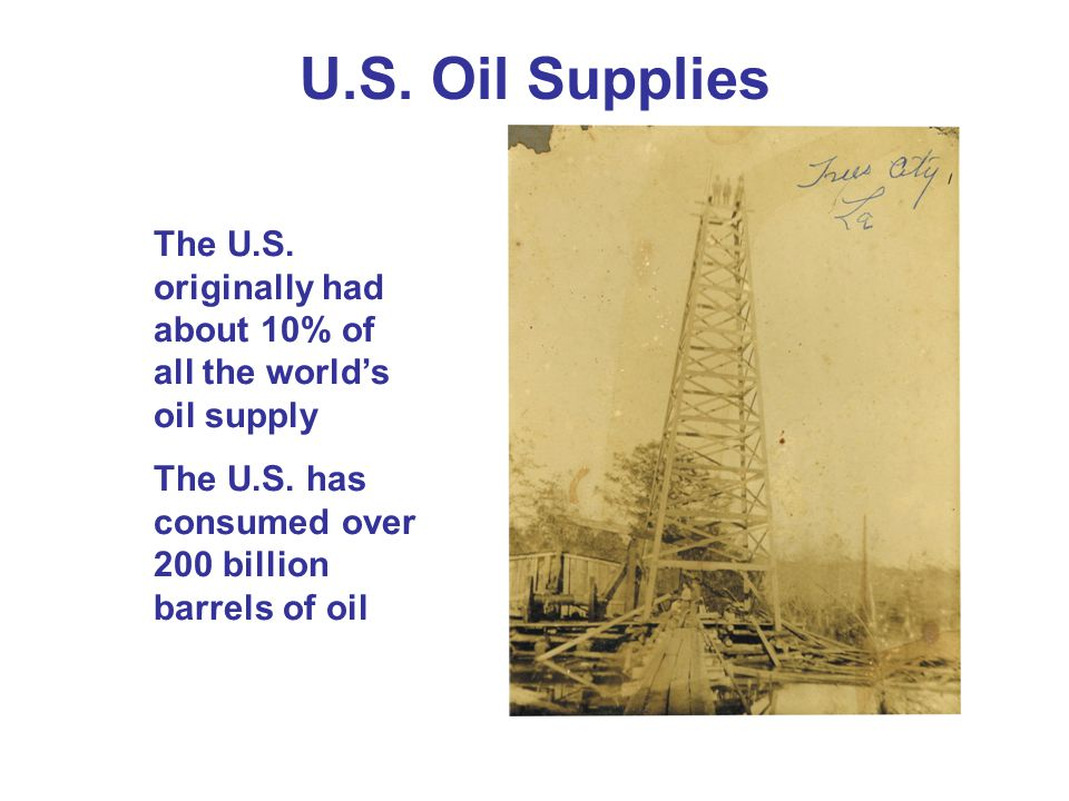 U.S. Oil Supplies The U.S. originally had about 10% of all the world's oil supply.