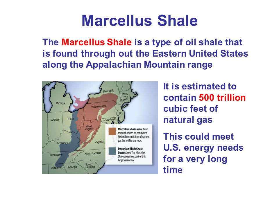 Marcellus Shale The Marcellus Shale is a type of oil shale that is found through out the Eastern United States along the Appalachian Mountain range.