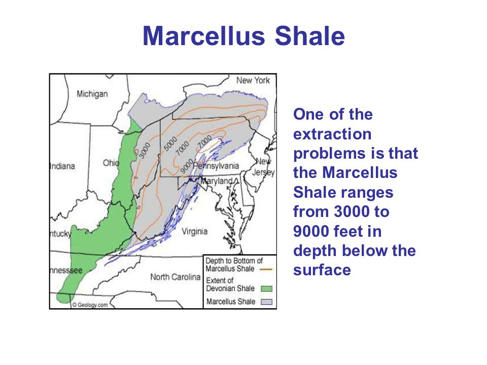 Marcellus Shale One of the extraction problems is that the Marcellus Shale ranges from 3000 to 9000 feet in depth below the surface.