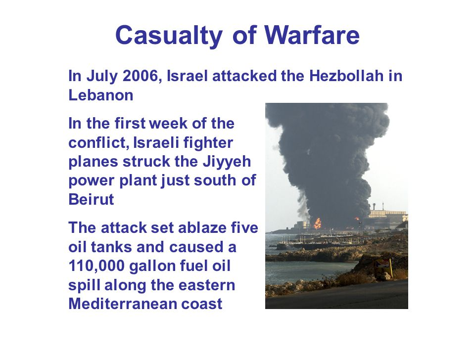 Casualty of Warfare In July 2006, Israel attacked the Hezbollah in Lebanon.