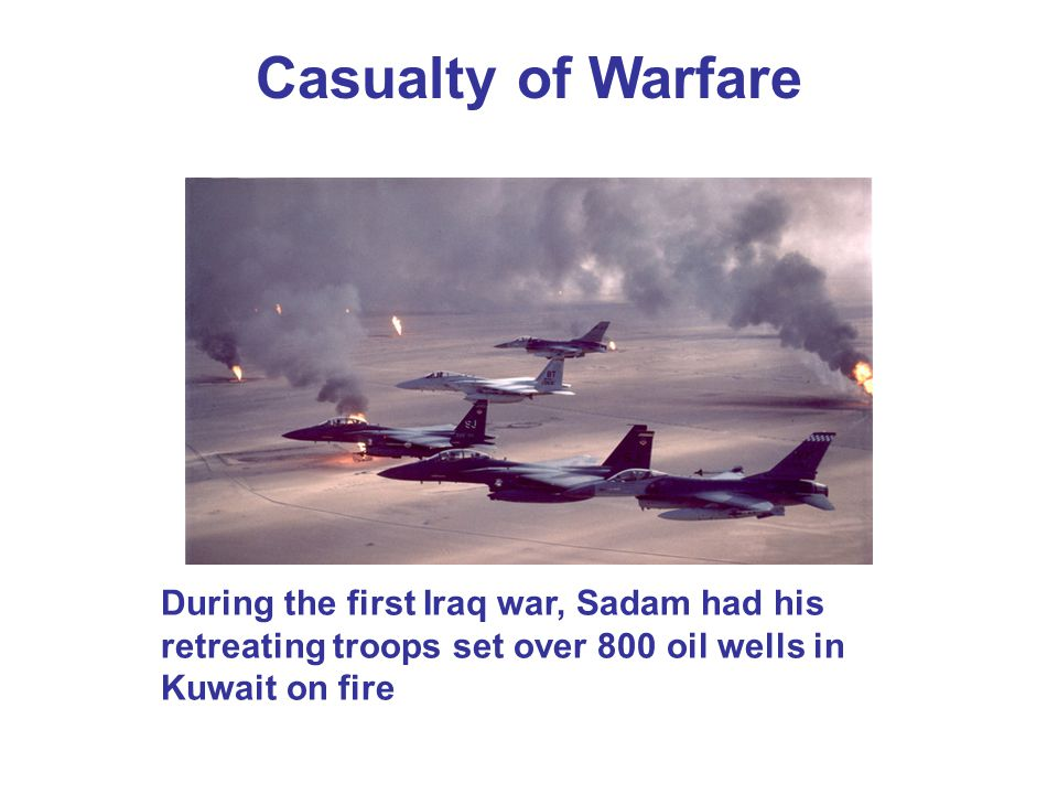 Casualty of Warfare During the first Iraq war, Sadam had his retreating troops set over 800 oil wells in Kuwait on fire.