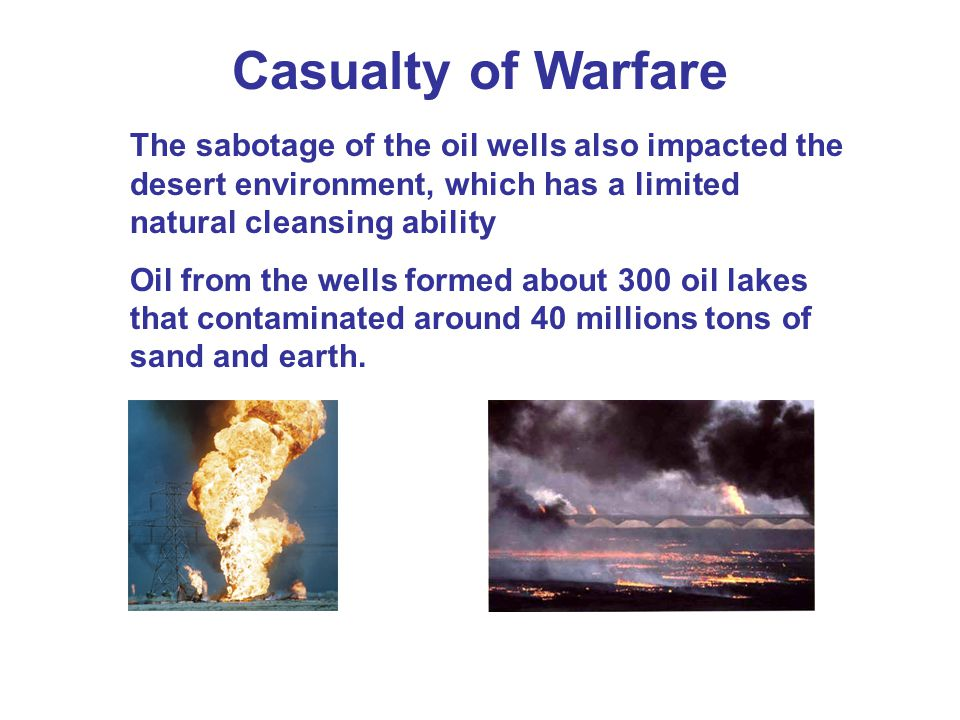 Casualty of Warfare The sabotage of the oil wells also impacted the desert environment, which has a limited natural cleansing ability.