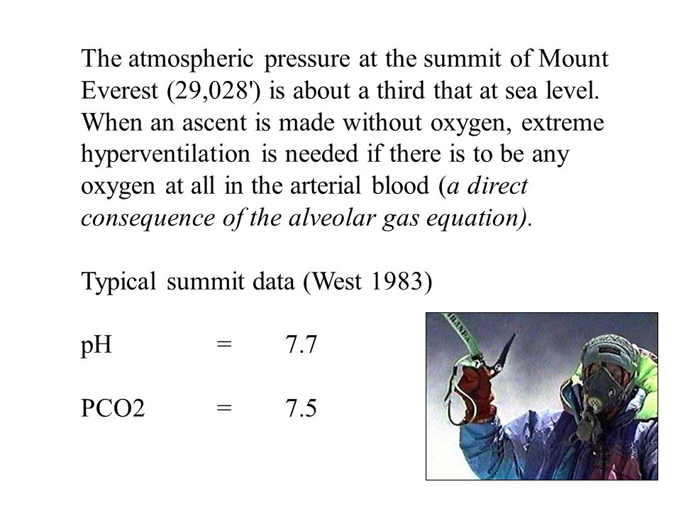 The atmospheric pressure at the summit of Mount Everest (29,028 ) is about a third that at sea level. When an ascent is made without oxygen, extreme hyperventilation is needed if there is to be any oxygen at all in the arterial blood (a direct consequence of the alveolar gas equation).
