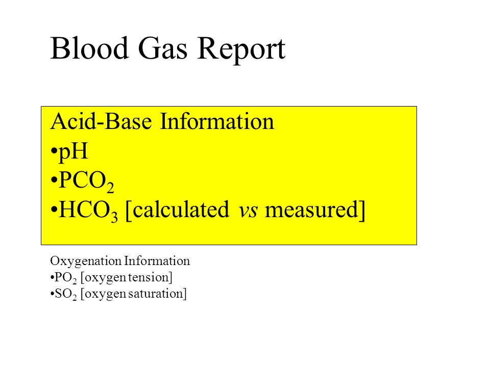 Blood Gas Report Acid-Base Information pH PCO2