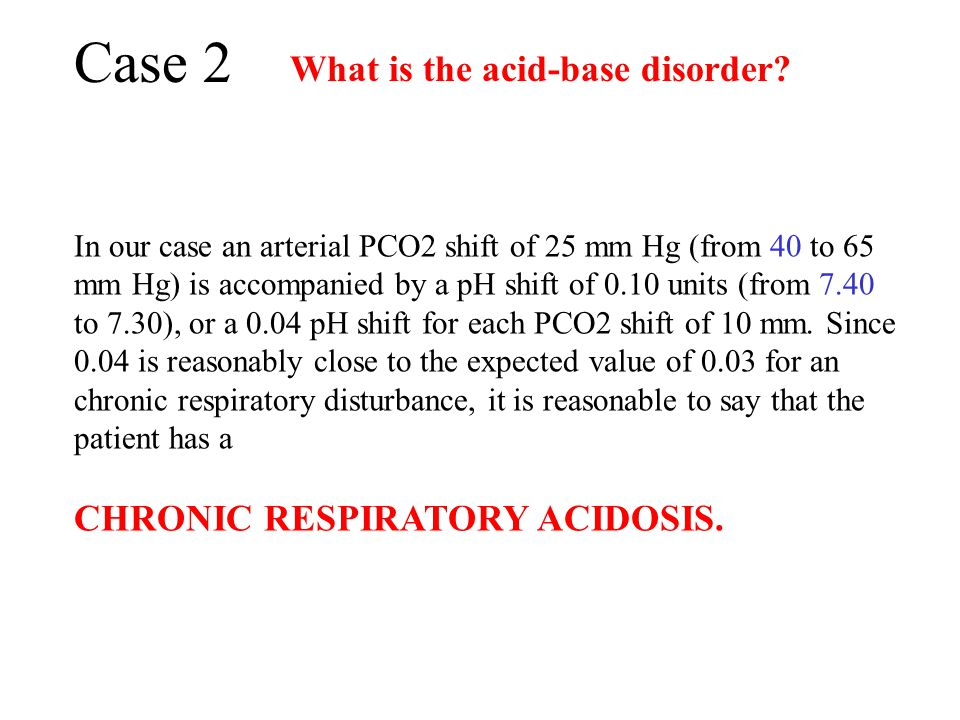 Case 2 What is the acid-base disorder CHRONIC RESPIRATORY ACIDOSIS.