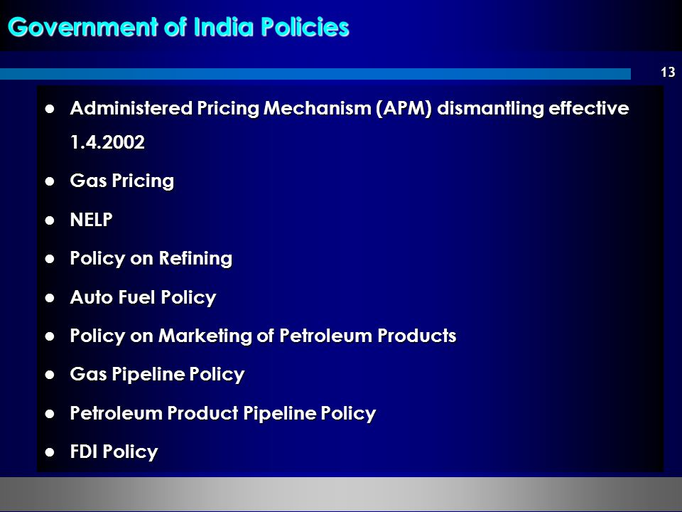 Government of India Policies