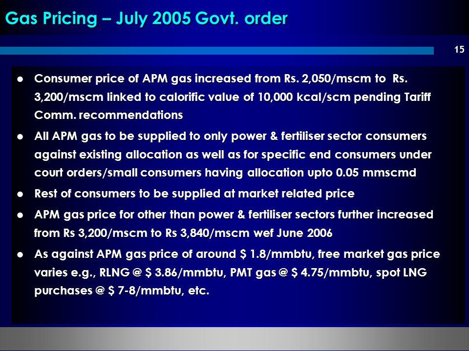 Gas Pricing – July 2005 Govt. order