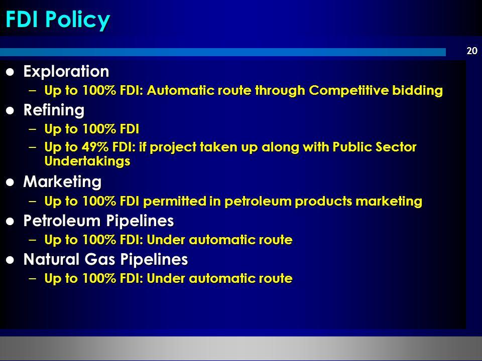 FDI Policy Exploration Refining Marketing Petroleum Pipelines
