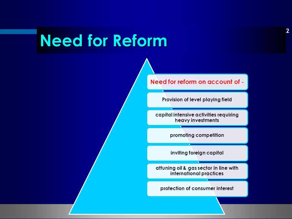 Need for Reform Need for reform on account of -