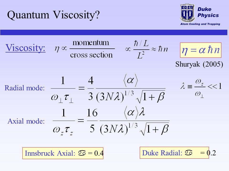 Quantum Viscosity Viscosity: Shuryak (2005) Radial mode: Axial mode: