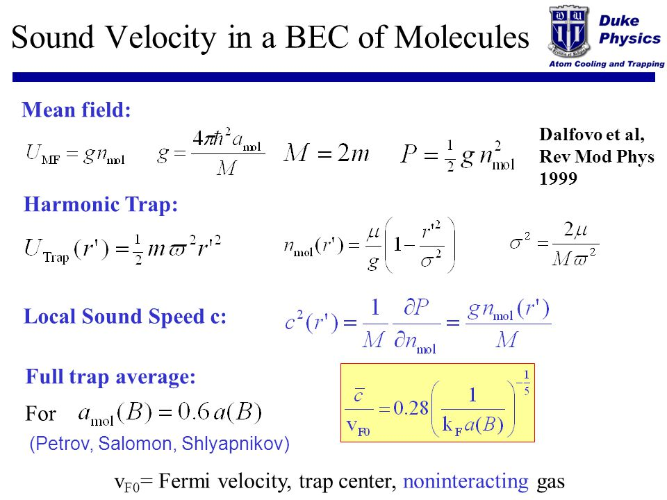 Sound Velocity in a BEC of Molecules