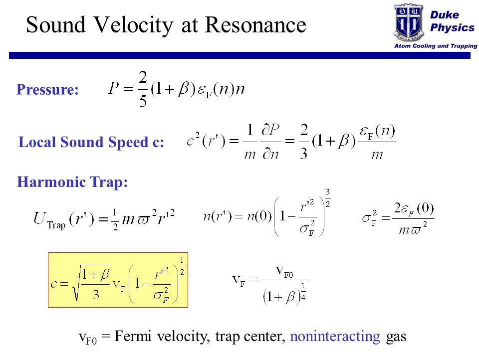 Sound Velocity at Resonance