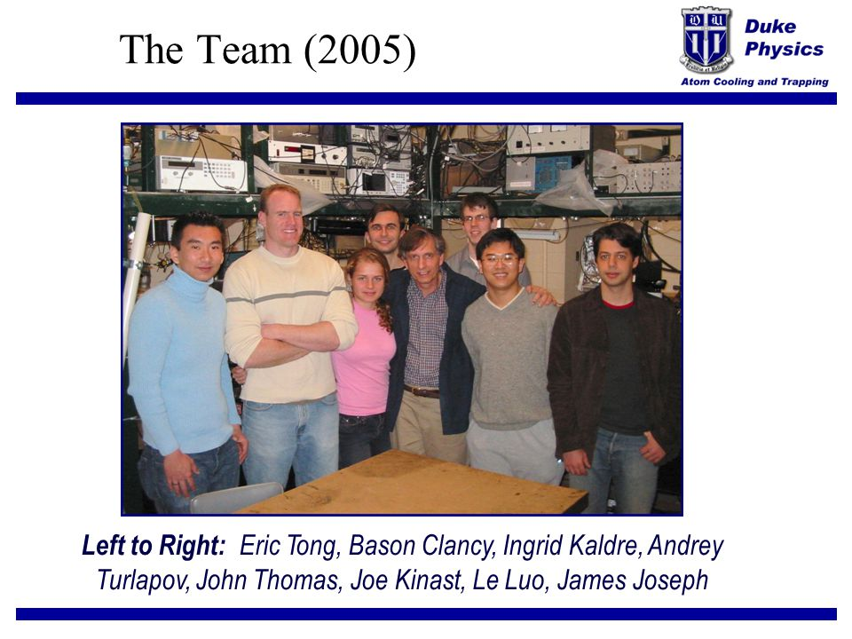 The Team (2005) Left to Right: Eric Tong, Bason Clancy, Ingrid Kaldre, Andrey Turlapov, John Thomas, Joe Kinast, Le Luo, James Joseph.